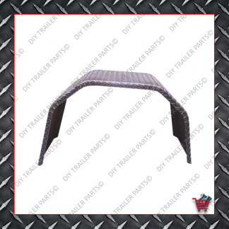 "Trailer Mud Guard - Single Axle - Checkerplate (Suits 15"" to 16"")"