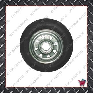 """14"""" Trailer Rim & Tyre - 185R14LT - Galvanised - HQ"""