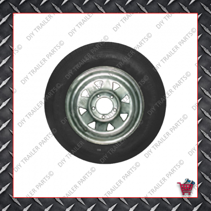 "14"" Trailer Rim & Tyre - 185R14LT - Galvanised - Ford"