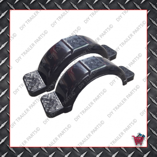 """Trailer Mud Guards - Pair - Plastic - Grey (Suits 13"""" to 14"""")"""