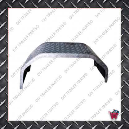 """Trailer Mud Guard - Single Axle - Checkerplate (Suits 13"""" to 14"""")"""