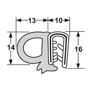 Trailer Door Seal - PVC Side Bulb Sponge (per metre)